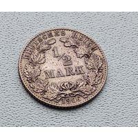 """Германия 1/2 марки, 1906 """"D"""" - Мюнхен 7-10-14"""