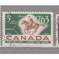 Лошади всадники фауна Канада 1963 год лот 1024 200-летие Квебек-Труа-Ривьер-Монреаль Почтовая служба