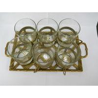 Набор -поднос, 6 стаканов, 6 подстаканников