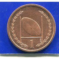 Остров Мэн 1 пенни 1998 , UNC , Рэгби