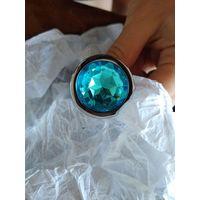Анальная пробка. средняя 82*34 мм, металл, круглый камень голубой, новая