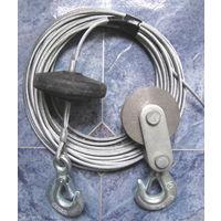 Трос (канат) стальной оцинкованный  для лебедки с крюком   блок-ролик с крюком