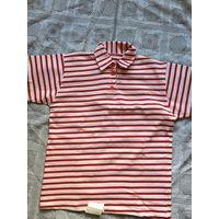 Майка футболка СССР 1995г в полосочку с воротничком и пуговками Новая