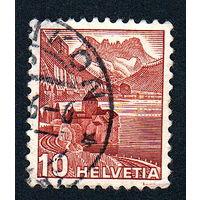 46: Швейцария, почтовая марка, 1936 год, номинал 10с, SG#372A