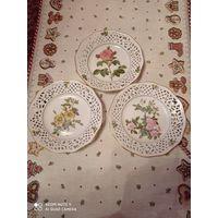 Фигурные тарелки, прорезной фарфор от Schumann, Германия 3 штуки