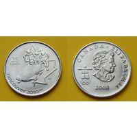 Канада 25 цент 2008г. - олимпиада Ванкувер 2010г. - бобслей