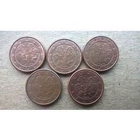 """Германия 1 евроцент, 2005г.""""A.D.F.G.J""""  (U)"""
