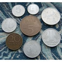 Германия (ГДР) 1, 5, 10, 20 (бронза), 50 пфеннигов; 1 марка, 2 марки, 5 марок (бронза). UNC. Гарантия низкой цены!
