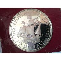 """БАГАМСКИЕ Острова (БАГАМЫ) 10 долларов 1973 год """"КОРАБЛЬ"""" серебро-PROOF"""