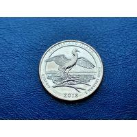 США. 25 центов (квотер, 1/4 доллара) 2018 D. Национальное побережье острова Кумберленд. (1).