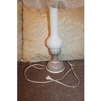 """Настольный светильник """"Керосиновая лампа"""", времён СССР, высота с колбой 42 см."""