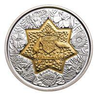 """RARE Австралия 20 долларов 2001г. """"100 лет Федерации"""". Монета в капсуле; деревянном подарочном футляре; номерной сертификат; коробка. ЗОЛОТО 8,8645гр. СЕРЕБРО 10,7618гр."""