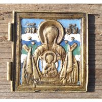 Икона БМ Знамение створка складня 5 эмалей.