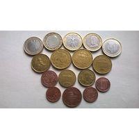 Евро и центы (16 монет одним лотом, без повторов).