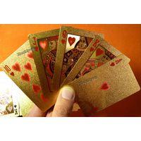 Игральные карты в позолоте 54 шт. 100 долларов
