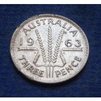 Австралия 3 пенса 1963 серебро брак