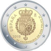 2 евро Испания 2018 50 лет со дня рождения короля Филиппа VI UNC из ролла