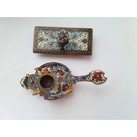 Пресс папье и подсвечник 19 век.бронза,эмали шамплеве Франция.