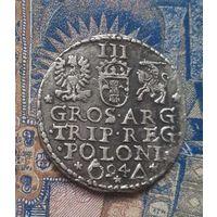 3 гроша Сигизмунда 1594 года. Мд Мальборк. Серебро
