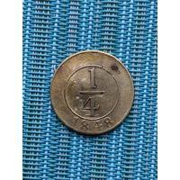 Доминиканская Республика 1/4 Реала 1848 г., очень редкая