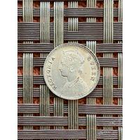 Британская Индия 1/4 рупии 1862 г. (2)