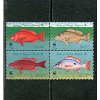 Острова Теркс и Кайкос. Охрана природы. Рыбы луциановые, квартблок 1998