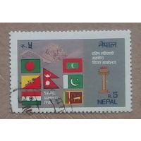 Марка Непала флаги