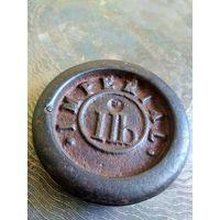 Гирька нач.19 в., 1 LB (фунт) Англия Imperial, гиря аптечная, торговая, Диаметр 7.3 см.