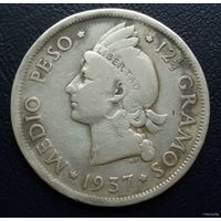Доминиканская республика. 1/2 песо 1937 г.