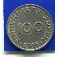 Саар , Саарланд 100 франков 1955
