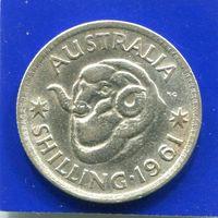 Австралия 1 шиллинг 1961 , серебро