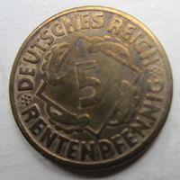 Германия. 5 рейхспфеннигов 1924 G 49