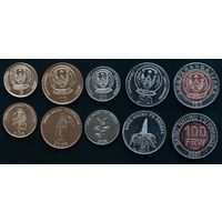 Руанда набор 5 монет 2003-2007 UNC