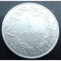 Бельгия. 1 франк 1911 Серебро