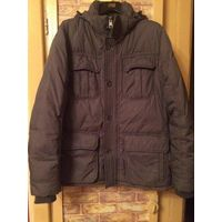 Стильная мужская куртка на 42-44 размер на зиму или холодную осень. Красивый серо-болотный цвет.