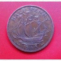 38-09 Великобритания, 1/2 пенни 1945 г.