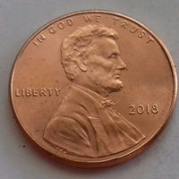 1 цент, США 2018 г., AU