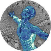 """RARE Ниуэ 2 доллара 2018г. """"Бессмертие"""". Монета в капсуле; деревянном подарочном футляре; сертификат; номер на гурте; обложка. СЕРЕБРО 62,20гр.(2 oz)."""