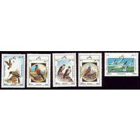 5 марок 1985 год Афганистан Птицы 1446-1447,1449-1451