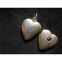 Старый кулон-подвеска сердечко с камнем для фото Ag золочение 1946-47 г.г.