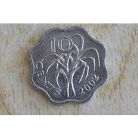 Свазиленд 10 центов 2002