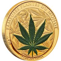 """RARE Бенин 100 франков 2010г. Монета с запахом """"Марихуана"""". Монета в капсуле; номерной сертификат. CuNi/Gold plated 27 гр."""