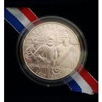 США 1 доллар 2007 год Основание Джеймстауна 1607 - 2007 год Серебро UNC Корабли сертификат идеал !!!