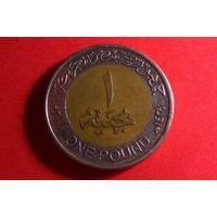 1 фунт 2008. Египет. Биметалл.
