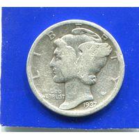 США 10 центов 1937 D , серебро , Mercury Dime