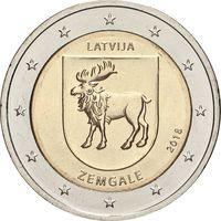 2 евро 2018 Латвия Земгале UNC из ролла