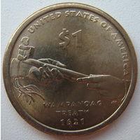 США 1 доллар 2011 г. Коренные Американцы. Договор с Вампаноагами. Трубка мира
