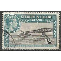 Гилберт и Эллис. Король Георг VI. Грузовое судно. 1939г. Mi#46.