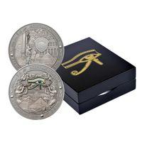 """Палау 20 долларов 2015г. """"Символы Египта: ГЛАЗ ГОРА"""". Монета в капсуле; шикарном деревянном подарочном футляре; сертификат, коробка. СЕРЕБРО 93,311гр.(3 oz)."""