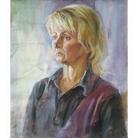 Женский портрет,  холст ненатянутый, масло примерно 60х 70см